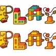 Stock Vector: Word Play. Letters Made Of Toys
