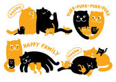 Illustrations With Family Of Cats — Stock Vector