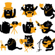 Set Of Black Cats. Creative Professions — Stock Vector #44611337