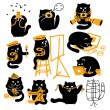 Set Of Black Cats. Creative Professions — Stock Vector #44754389
