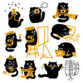 Set Of Black Cats. Creative Professions — Stock Vector