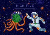 Alien And Cosmonaut Making High Five — Stock Vector
