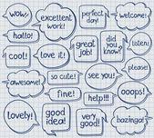 Hand Drawn Speech Bubbles On Notebook Sheet — Stock Vector