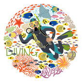 Diver With Underwater Plants And Tropical Fishes — Stock Vector