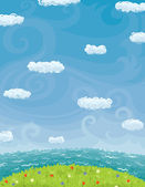 Summer Background With Cloudy Sky Sea And Lawn — Stock Vector