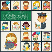 Set Of School Icons With Kids — Stock Vector