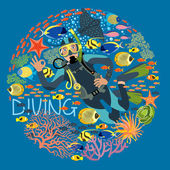 Diver With Underwater Plants And Tropical Fishes Text Diving — Stock Vector