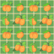 Seamless pattern with apricots on the checked background — Stock Vector
