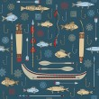 Stock Vector: Seamless pattern of Indian fishing