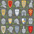 Royalty-Free Stock Vector Image: Seamless pattern with knightly helmets and shields