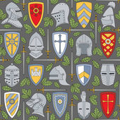Seamless pattern with knightly helmets and shields — Stock Vector