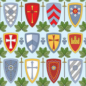 Seamless pattern with knightly shields — Stock Vector