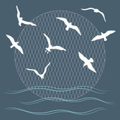 Seagulls over waves — Stock Vector