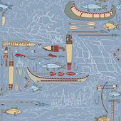 Transparente motif amérindien avec paysages fluviaux — Vecteur