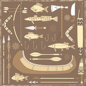 éléments de conception de pêche amérindien - illustration — Vecteur