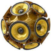 Audio speakers sphere isolated on white — Stok fotoğraf