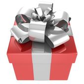 Gift box with bow and ribbons. — Stock Photo