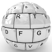 Keyboard sphere isolated on white background. — Stockfoto