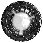 Keyboard sphere isolated on white background. — Stock Photo