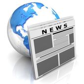Globe with newspaper — Stock Photo