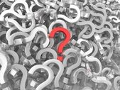 Many question marks - one is red — Stock Photo