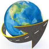 Globe and roads around it. — Stock Photo