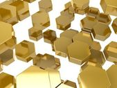 Gold honeycomb pattern background — Stock Photo