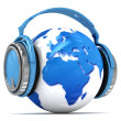 Earth globe with headphones. — Stock Photo #45348827