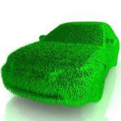 Gras gedekt auto - eco groen vervoer — Stockfoto