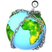 Glass globe with chains and manometer. — Stock Photo