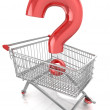 Shop question with shopping cart — Stock Photo #45355213