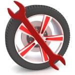 Wheel and Tools — Stock Photo #45356891