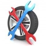 Wheel and Tools — Stock Photo #45357167