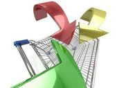 Shopping cart with arrow — Stock Photo