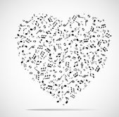 Abstract musical heart background — Wektor stockowy