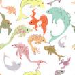 Vector colorful background - pattern with fish (seamless) — Stock Photo #13130212