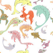 Vector colorful background - pattern with fish (seamless) — Stock Photo
