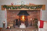 Festive Fireplace — Stock Photo