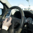 Stock Photo: hand of a teen texting while driving