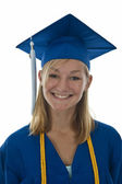 Girl graduate in gown and mortarboard — Stock Photo