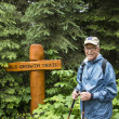 Senior active man hiking — Stock Photo
