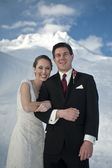 Winter wedding in the snow — Stock Photo