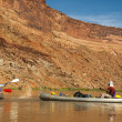 Family fun on desert river in canoes — Stock Photo #21605391