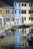 Boat on canal, Burano, Italy — Stock Photo