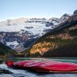 Stock Photo: Row of canoes, Banff National Park