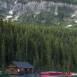 Stock Photo: Boathouse and canoes, Banff National Park