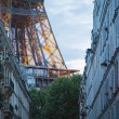 Eiffel Tower at end of the street, Paris — Stockfoto