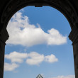 Louvre Pyramid see through keyhole arch — Stock Photo