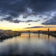 Stock Photo: Sunset over river, Portland, Oregon