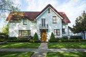 Vita amerikanska hantverkare stuckatur hus — Stockfoto